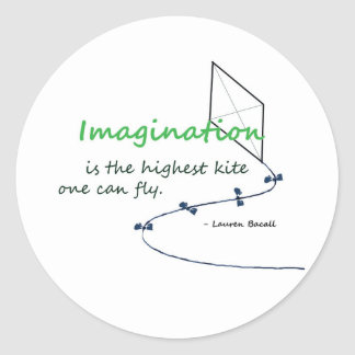"""Imagination is the Highest Kite"" Round Stickers"