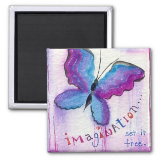 """""""Imagination Set It Free"""" inspirational watercolor 2 Inch Square Magnet"""