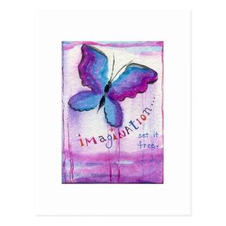 """Imagination Set It Free"" inspirational watercolor Postcard"