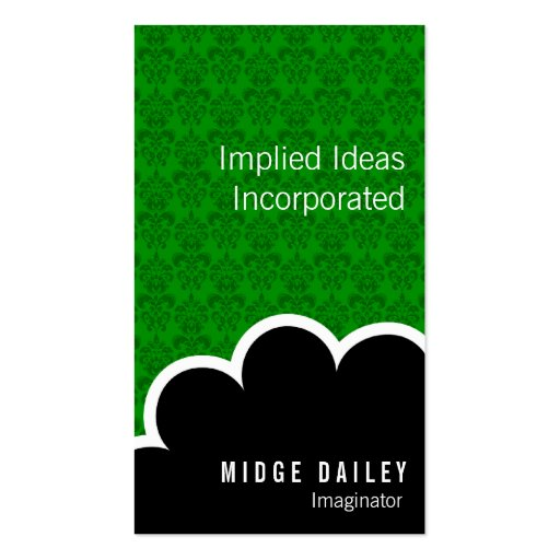 Imaginator Cloud on Green Damask Double-Sided Standard Business Cards (Pack Of 100)