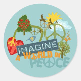 Imagine a World in Peace Classic Round Sticker