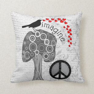 """Imagine"" Art Pillow Peace Symbol Design"