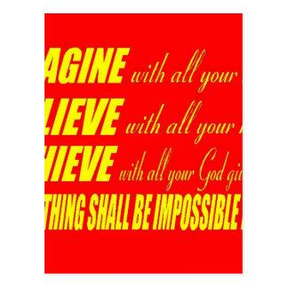 Imagine, Believe, Achieve Postcard