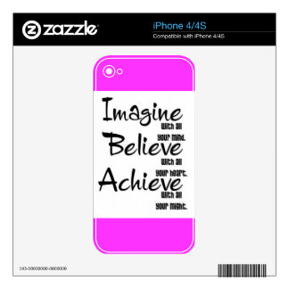 IMAGINE BELIEVE ACHIEVE WITH ALL YOUR MIND HEART SKINS FOR iPhone 4