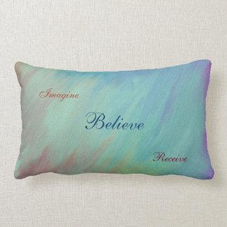 Imagine, Believe, Receive quote Lumbar Pillow