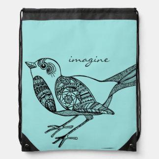 """Imagine"" Bird in Blue Backpack"