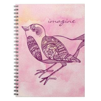 """""""Imagine"""" Bird Notebook in Watercolor"""