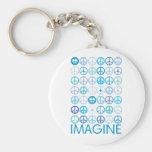 IMAGINE - Blue International Peace Signs Key Chain