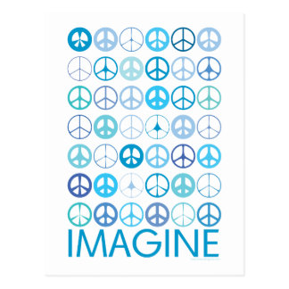 IMAGINE - Blue International Peace Signs Post Card