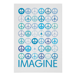 IMAGINE - Blue International Peace Signs Posters