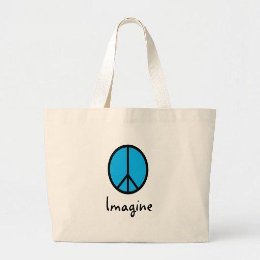 Imagine BLUE peace symbol Jumbo Tote Bag