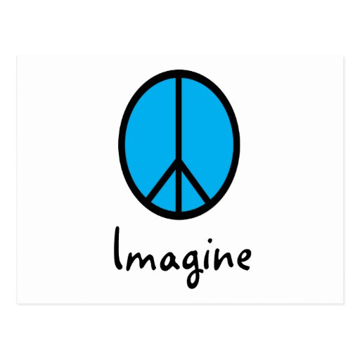 Imagine BLUE peace symbol Post Cards