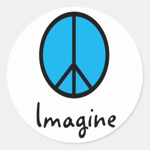 Imagine BLUE peace symbol Stickers