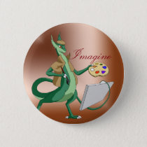 """Imagine"" Dragon Painter Pinback Button"