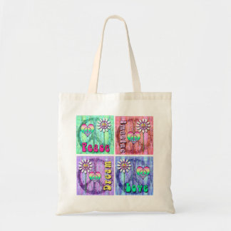 Imagine, Dream, Peace, and Love Graphic Design Tote Bag