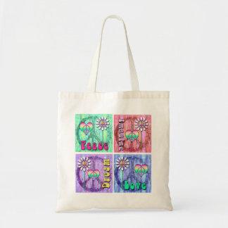 Imagine, Dream, Peace, and Love Graphic Design Tote Bag