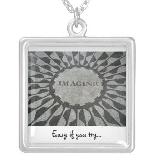 Imagine, Easy if you try... Square Pendant Necklace
