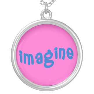 Imagine in Blue and Deep Pink on a Necklace