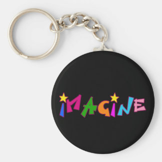 Imagine in Colorful Lettering Basic Round Button Keychain