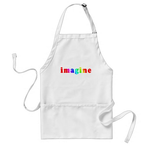 Imagine in Rainbow Color Lettering Adult Apron
