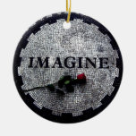 Imagine Monument with Red Rose Double-Sided Ceramic Round Christmas Ornament
