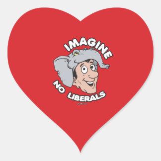 Imagine No Liberals Heart Sticker