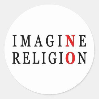 Imagine No Religion Classic Round Sticker
