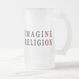 Imagine No Religion Frosted Glass Beer Mug