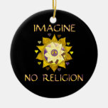 Imagine No Religion Double-Sided Ceramic Round Christmas Ornament