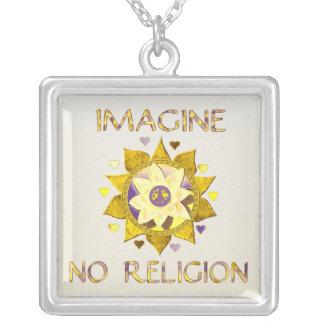 Imagine No Religion Square Pendant Necklace