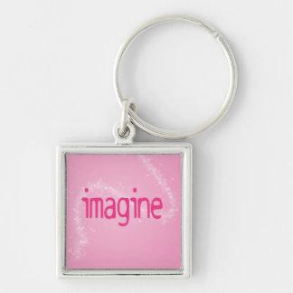 Imagine on a Pink Pattern Keychain