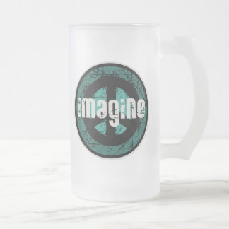 Imagine Peace Frosted Glass Beer Mug