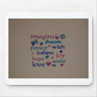 Imagine, Peace, Love, Wish, Hope Design Mouse Pad