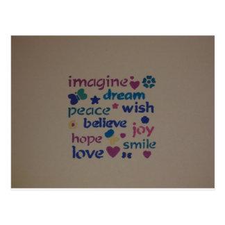 Imagine, Peace, Love, Wish, Hope Design Postcard