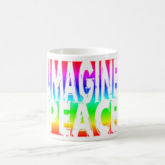 IMAGINE PEACE RAINBOW CLASSIC WHITE COFFEE MUG