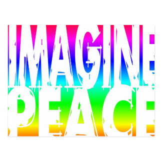 IMAGINE PEACE RAINBOW POSTCARD