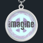 """Imagine Peace Sign Silver Plated Necklace<br><div class=""""desc"""">Unique Imagine Peace necklace. All this awesomeness in lead-free,  nickel-free sterling silver! Cool custom peace art by Island Vintage... </div>"""