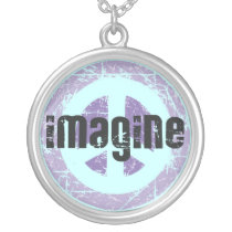 Imagine Peace Sign Silver Plated Necklace
