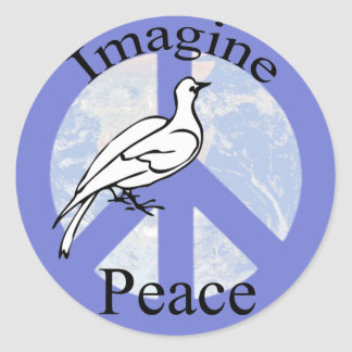 Imagine Peace Round Stickers
