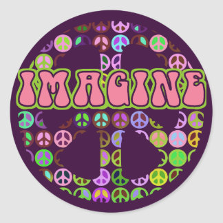Imagine Peace Round Stickers