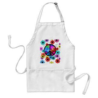 Imagine Peace Symbol and Retro Flowers Aprons