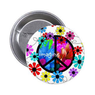 Imagine Peace Symbol and Retro Flowers Buttons
