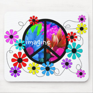Imagine Peace Symbol and Retro Flowers Mouse Pad