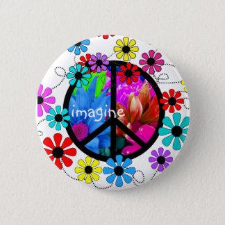 Imagine Peace Symbol and Retro Flowers Pinback Button