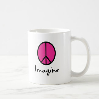 Imagine PINK PEACE symbol Classic White Coffee Mug