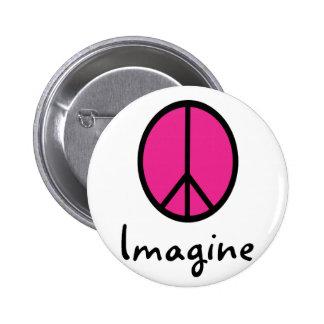 Imagine PINK PEACE symbol Pinback Button