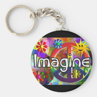 """Imagine"" Psychadelic 70's Gifts Keychain"
