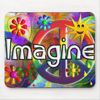 """""""Imagine"""" Psychadelic 70's Gifts Mouse Pad"""