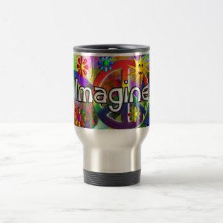 """""""Imagine"""" Psychadelic 70's Gifts Travel Mug"""