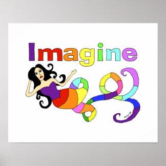 Imagine Rainbow Mermaid Art Poster
